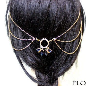 Vintage Head Piece, Bohemian Head Chain, Blue Stone Hair Jewelry