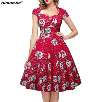 Himanjie Women Dress Casual Summer 2017 Multicolor Skull Pattern Plus Size Vintage Sexy Party Vestidos Swing De Festa M-4XL