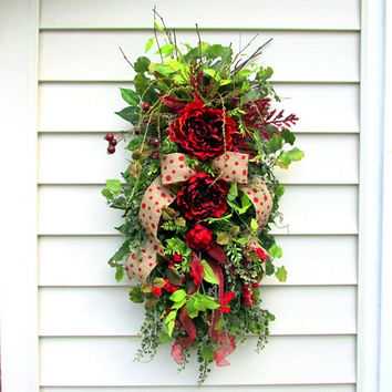 Everyday Door Swag, Teardrop Vertical Swag, Summer Wreath Swag, All Season Wreath, Fall Door Swag, country cottage wreath, gifts for her