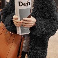 Black Faux Fur Going Out Office Worker/Daily Cardigan Coat