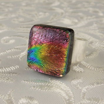 Geekery Jewelry - Dichroic Jewelry - Fused Glass Ring - Large Jewelry - Glass Ring - Dichroic Fused Glass Ring - Metal Ring X4910