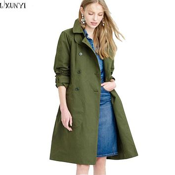 trench coat for Women Spring Autumn 2017 Casual Overcoat British Style Brief Slim Double Breasted lacing Long trench Army Green