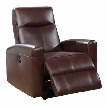 Eli Collection Contemporary Leather Upholstered Living Room Electric Recliner Power Chair, Brown
