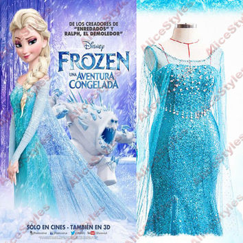 Handcrafted Frozen Dairy Queen Elsa LUXURY Girl Dress Hand-made Cosplay Costum Made to Order