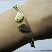 Charming Ancient Bronze Birds Chain Wristband Cuff by braceletcool