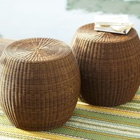 Palmetto All-Weather Wicker Accent Table - Honey
