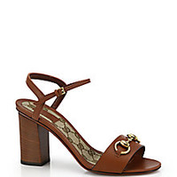 Gucci - Stacked-Heel Horsebit Leather Sandals - Saks Fifth Avenue Mobile