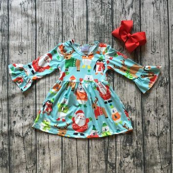 baby girls Fall dress clothing girls Christmas party dress children Santa Claus dress long sleeve milkailk dress with bows