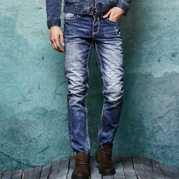 Free shipping 2018 Winter Thick Mens Distressed Jeans Male Fashion Denim Cargo Pants Vintage Washed Casual Pants 062101