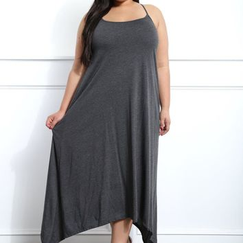 Gray Handkerchief Plus Size Midi Dress