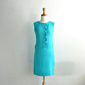 1960s Shift Dress / mod 60s dress / tiffany blue / jackie o / wiggle dress / spring fashion / mod wedding dress / small