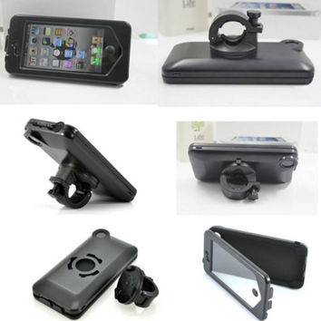 Motorcycle Bike Bracket Waterproof Case Handlebar Holder For iPhone 6 4.7 5fV3