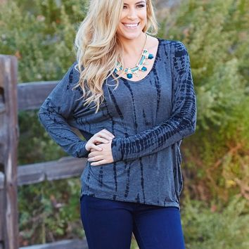 Grey-Black-Tie-Dye-Printed-Dolman-Sleeve-Top