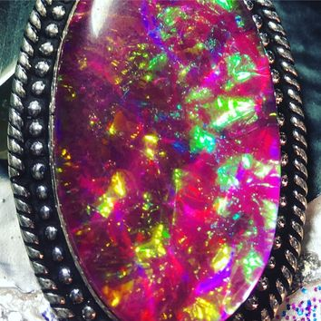 Pink Dichroic Glass Sparkle Mermaid Necklace(925 stamped)