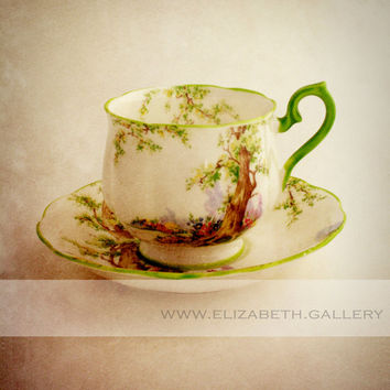 Tea Cup Photography with Spring Tree Landscape Painting - Print 8x10