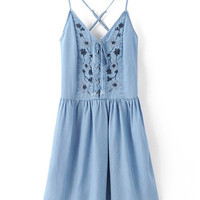 Blue V Neck Lace Up Embroidery Dress