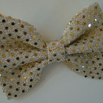 Gold sequin hair bow, Big hair bow, Hair clips, Hair bows for women kids and teens, Lace hair Bow