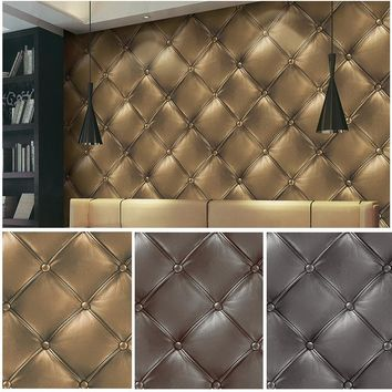 HaokHome 3D Vinyl Faux Leather textured wallpaper 0.53m*10m,wall paper for home living room office bar decoration