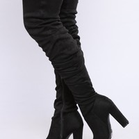 Delilah Over The Knee Slouch Boot - Black
