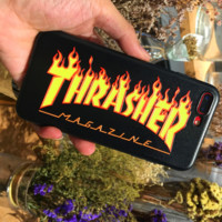 Thrasher new fashion yellow flame print phone case Black