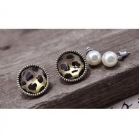 New Arrival Leopard and Olivet Embellish Two Pieces Ear Pin China Wholesale - Sammydress.com