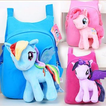 3D my little pony backpack for girls Kids School bag Child Plush Backpacks Baby Schoolbag Cartoon Kids Satchel Mochila Infantil