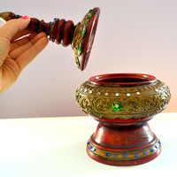 Vintage Genie Lamp Wooden with jewels and carvings Arabian Candy Jar