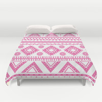 Hot Pink Aztec Duvet Cover by Kate