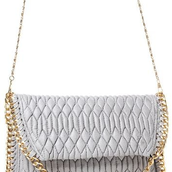 Embellished Quilted Shoulder Bag in Grey
