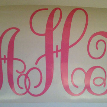 Vinyl Monogram Car Decal by SweetSerendipityShop on Etsy