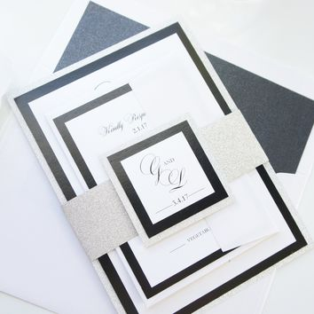 Black Glitter Wedding Invitation, Elegant Wedding Invitations - SAMPLE SET