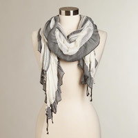 Cream & Black Ruched Scarf - World Market
