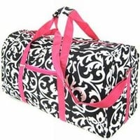 World Traveler Pink Damask Gym Duffle Bag 21-inch
