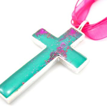 Large Green & Pink Cross Necklace