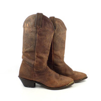 Brown Cowboy Boots Vintage 1980s Durango Slouch Leather women's size 7 M