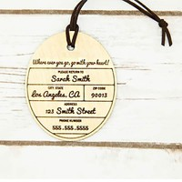 Personalized Wood Luggage Tag ~ Cirque