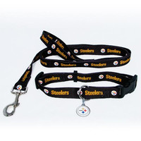 Pittsburgh Steelers NFL Dog Collar & Leash Set