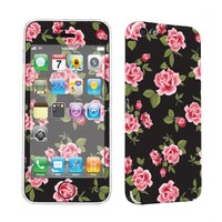 SkinGuardz Protective Vinyl Decal Sticker Skin for Apple iPhone 5C - (Black Rose Garden)