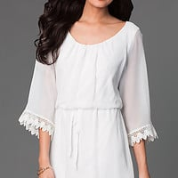 Short Scoop Neck Dress with 3/4 Length Sleeves