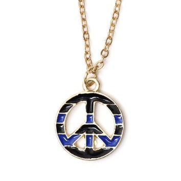 Striped Peace Sign Necklace Flower Power Hippie NG00 Anti War Nautical Pendant Fashion Jewelry