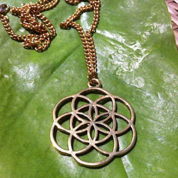 Seed of Life necklace ,pendant, gold  brass, sacred geometry , yoga jewellery , bohemian , high detail, Hand made .