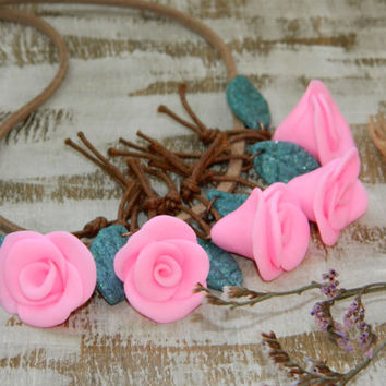 Rose Flower necklace-Floral necklace-polymer clay jewelry-buds necklace-Roses jewelry-wedding necklace-Boho-pink-trendy-bib-party-fashion