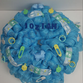 Baby Boy Mesh Wreath, It's a Boy, Baby Shower Wreath, Baby Shower Decoration, Baby Gift, Baby Boy Room Decor, Blue
