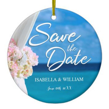 Elegant Ocean Beach Summer Save the Date Ceramic Ornament