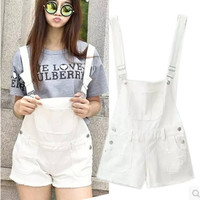 Denim Suspender Shorts Jumpsuit