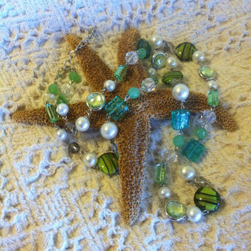 Green Lamp Work Glass and White Pearl Necklace Vintage Beaded Long Necklace With Glass Faceted Crystal and Green Square Rectangle Beads