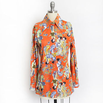 Vintage 1970s Disco Shirt - Novelty Print Poly Orange Asian Japanese Geisha Button Up - Small