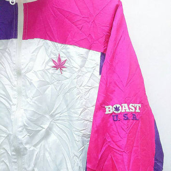 Hot Sale!!! Rare Vintage 90s BOAST U.S.A Marijuana Logo Multicolour Windbreaker Jacket Hip Hop Swag Medium Size