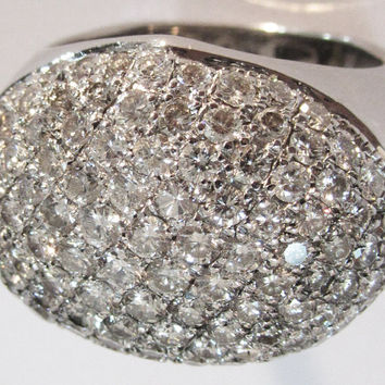 Diamond ring, Multi stone ring,Bella ring, 19.20 grams, 18K White gold, 4.70 carat E F VS Diamonds