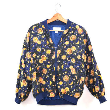 Vintage Bomber Jacket Celestial Jacket Blue Bomber Jacket Silk Bomber Jacket Stars & Moon Bomber Jacket 90s Windbreaker 90s Astrology Jacket
